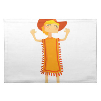 Little Barefoot Girl Wearing A Poncho And Cowboy H Placemat