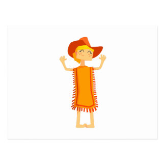 Little Barefoot Girl Wearing A Poncho And Cowboy H Postcard