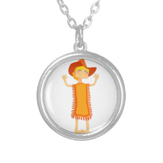 Little Barefoot Girl Wearing A Poncho And Cowboy H Silver Plated Necklace
