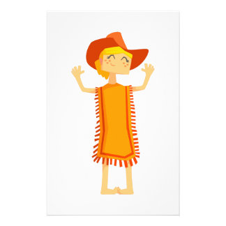 Little Barefoot Girl Wearing A Poncho And Cowboy H Stationery