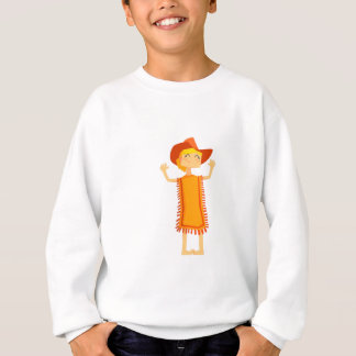 Little Barefoot Girl Wearing A Poncho And Cowboy H Sweatshirt
