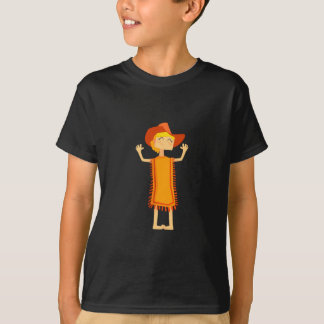 Little Barefoot Girl Wearing A Poncho And Cowboy H T-Shirt