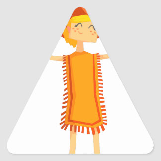 Little Barefoot Girl Wearing A Poncho And Cowboy H Triangle Sticker