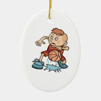 little basketball kid boy dribbling ball ceramic ornament