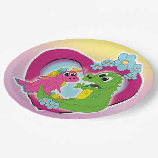little best friends - unicorn and dragon paper plate