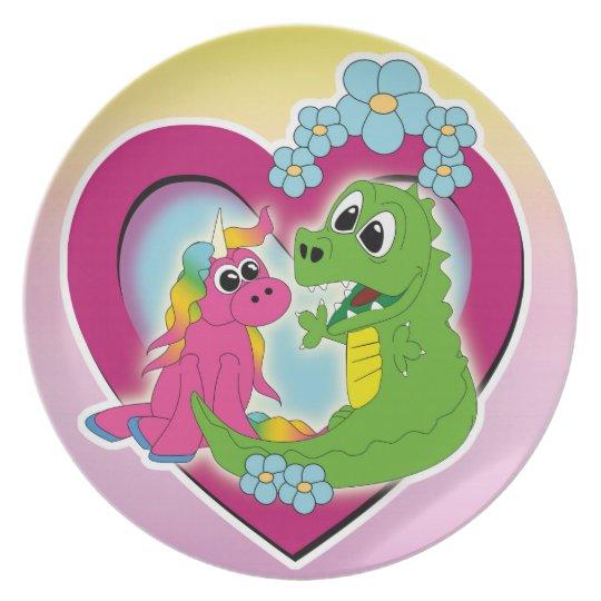 little best friends - unicorn and dragon plate