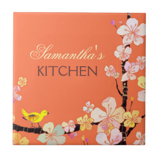 Little Bird and Sakura Flowers Kitchen Trivet Deco Tiles