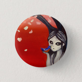 little bird cherry blossom 1 inch round button