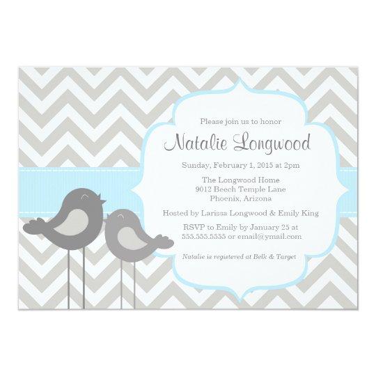 Little Bird Chevron Baby Shower Invitation