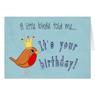 Little Bird: Happy Birthday Card in blue