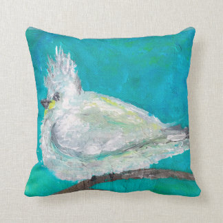 Little Bird in Fluffy White Coat Throw Pillow