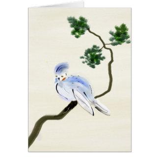 Little Bird Sumi-e Greeting Card