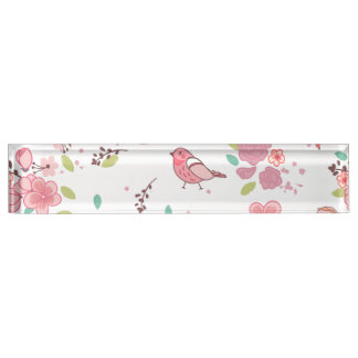 Little Birdie Pink and Blue Whimsical Girly Name Plate