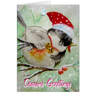 Little Birdie with Santa Hat Greeting  Card