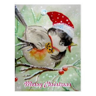 Little Birdie with Santa Hat  Postcard