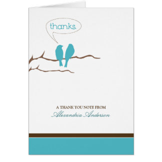 Little Birdies Custom Thank You Card (aqua)