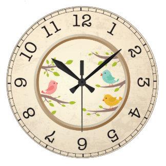 Little Birdies Round Wall Clock