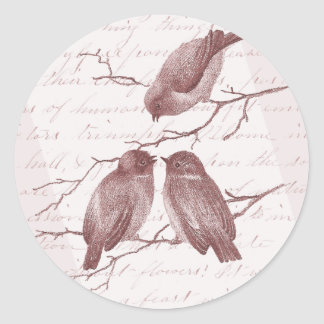Little Birds Chatting on a Winter Branch Sepia Classic Round Sticker