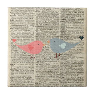 Little Birds Love Collage On Old Dictionary Page Ceramic Tiles
