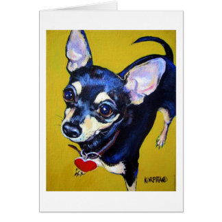 Little Bitty Chihuahua - Black and Tan Chihuahua Greeting Card