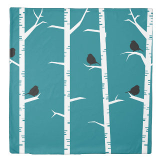 Little Black Birds and White Birch Trees Duvet Cover