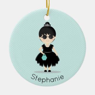 Little Black Dress Soiree Round Ceramic Ornament
