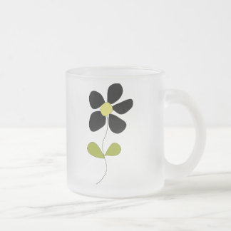 Little Black Flower 10 Oz Frosted Glass Coffee Mug