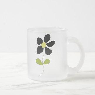 Little Black Flower Frosted Glass Mug