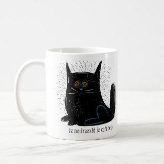 Little black frazzled cat basic white mug