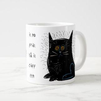 Little black frazzled cat jumbo mug