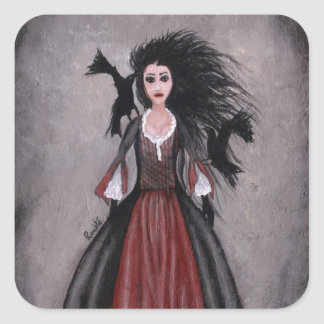 Little Black Haired Girl + Crows Square Sticker