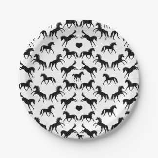 Little Black Horses Paper Plates 7 Inch Paper Plate