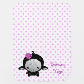 Little Black Lamb Pink Polka Dot Personalized Baby Blanket