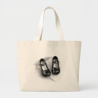 LITTLE BLACK SHOES: PENCIL ART: REALISM LARGE TOTE BAG