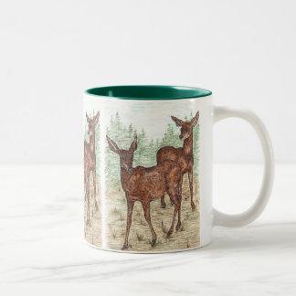 Little Black Tail deer Two-Tone Coffee Mug