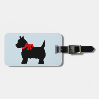 little black terrier luggage tag