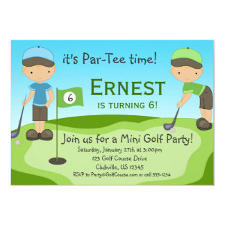 "Little Blonde Boy Golfers, Golf Birthday Party 5"" X 7"" Invitation Card"