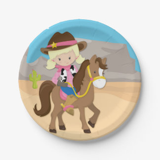 Little Blonde Cowgirl on Horse 7 Inch Paper Plate