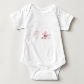 Little Blonde Girl with Presents Baby Bodysuit