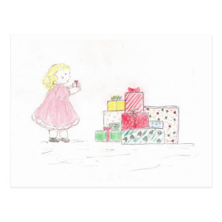 Little Blonde Girl with Presents Postcard