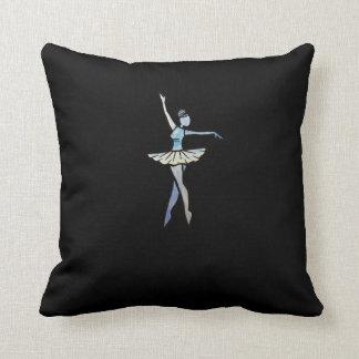 Little blue ballerina artwork throw pillow