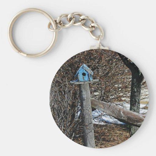 Little Blue Birdhouse Keychain