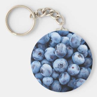Little Blue Blueberries - Fruit Print Basic Round Button Keychain