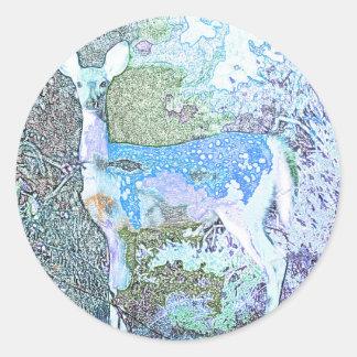 Little Blue Deer Round Sticker