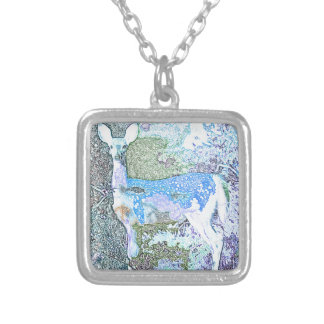 Little Blue Deer Silver Plated Necklace