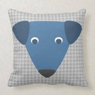 Little Blue Dog Pillow - Square