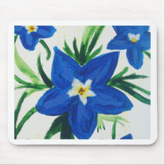 little blue flower collection mouse pad