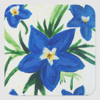 Little Blue Flowers 2 by Jane Square Sticker