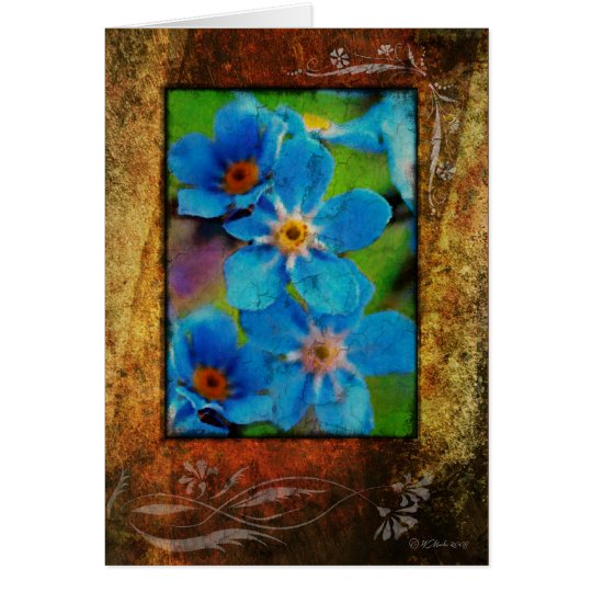 LIttle Blue Flowers-Framed Card