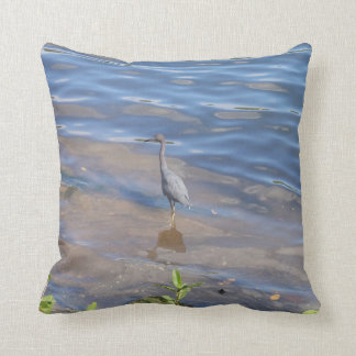 Little Blue Heron Throw Pillows